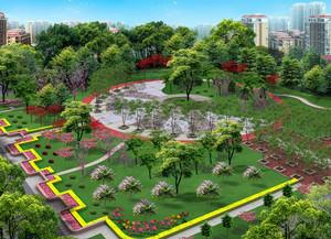 城市中大型人民公园俯视图设计效果图