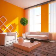 2016橙色摩登单身公寓房间客厅装修图片