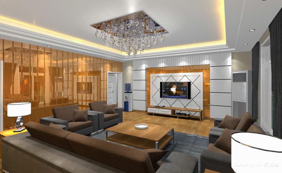 小户型深色调客厅电视背景墙效果图