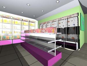 60平米街角现代简约风格饰品店货架装修效果图