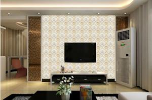 现代三室一厅客厅电视背景壁纸装修图片