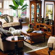 别墅法式风格客厅水曲柳实木家具装修效果图