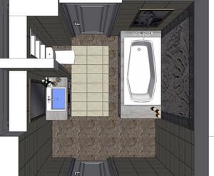 20平米现代简约风格卫生间样板间俯视图