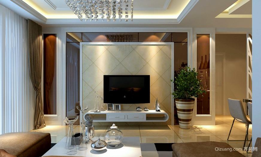 120平米简约风格客厅电视背景墙效果图