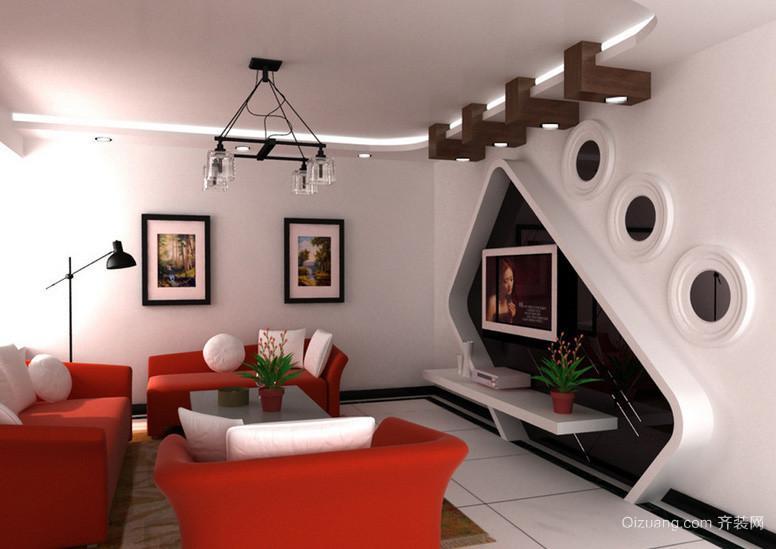 100平米轻快系列客厅电视背景墙效果图