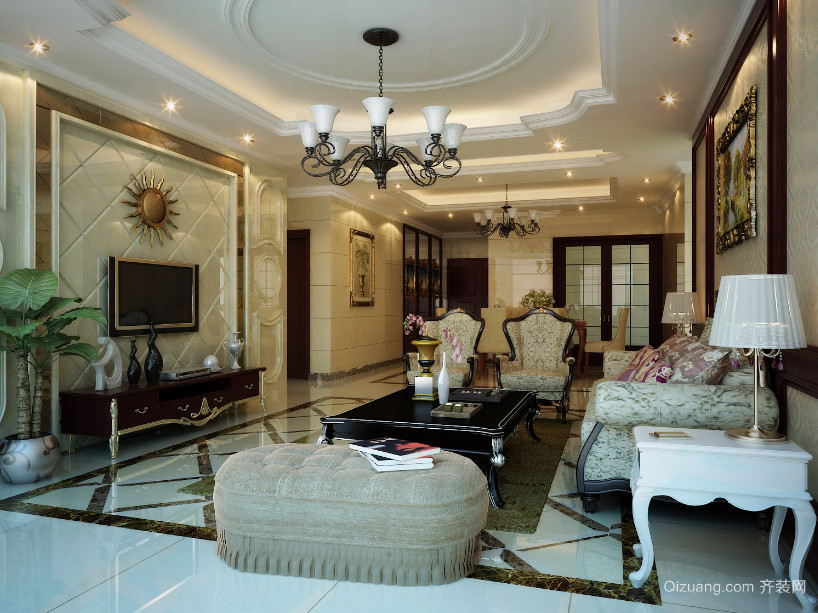 120平米欧式大户型客厅装修效果图实例欣赏