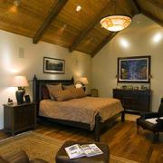 美式简约风格实木别墅卧室装修效果图