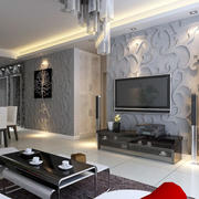 现代简约风格公寓客厅电视背景墙装修效果图