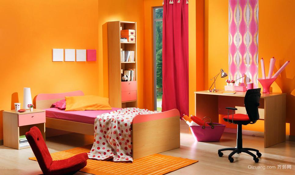 现代橙色10平米儿童房装修图片