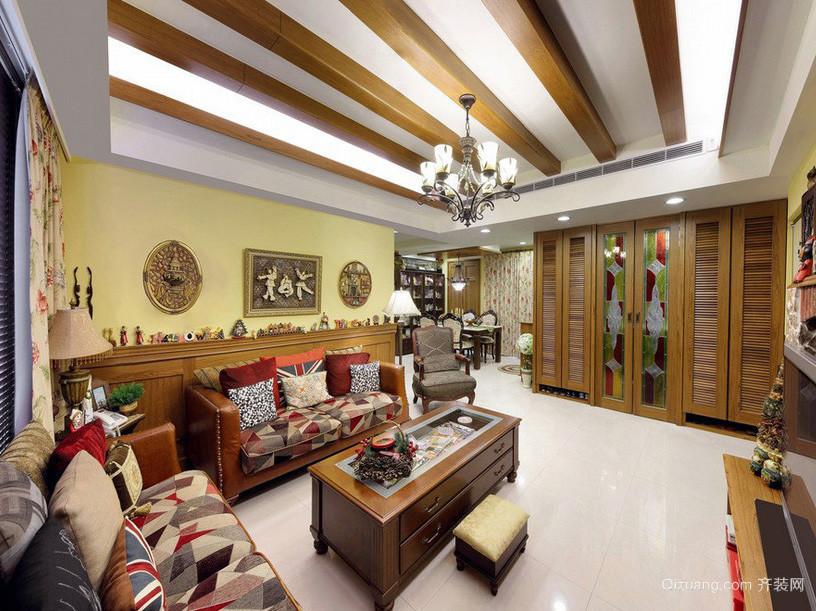 美式田园100平老年公寓客厅家具装修图片