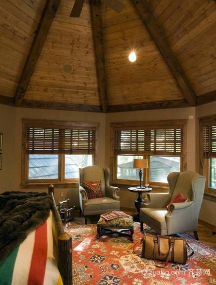 美式风格木屋别墅复古客厅装修效果图
