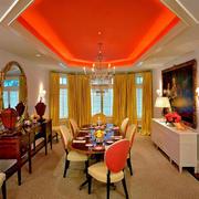 古典混搭大户型别墅橙色餐厅装修图片