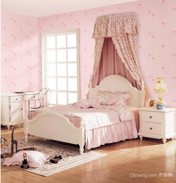 甜美14平米儿童房卧室壁纸装修图片
