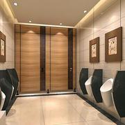 后现代风格深色原木男性公共洗手间装修效果图