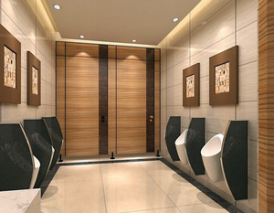 后现代风格深色原木男性公共洗手间 装修 效果图