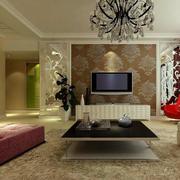100平米唯美型客厅电视背景墙效果图