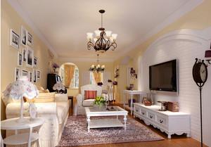现代田园风格110平米客厅家具装修图片