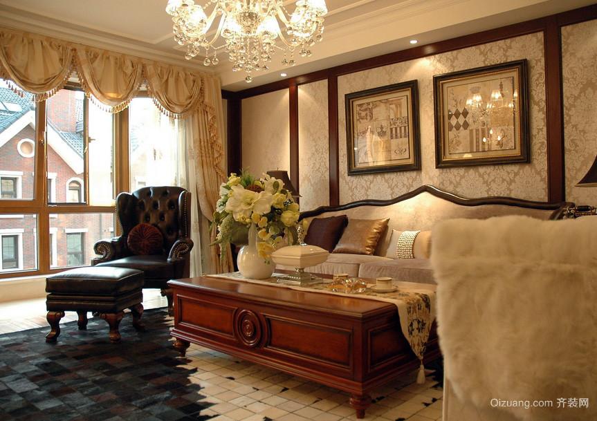 美式别墅小客厅液体壁纸装修图片