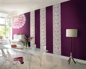 浪漫现代小餐厅紫色壁纸装修图片