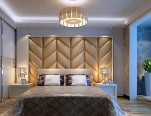 30平米欧式简约卧室软包背景墙装修效果图