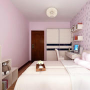 简约粉色单身公寓卧室壁纸装修图片