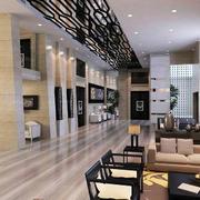 精致朴素商务酒店大堂设计装修效果图