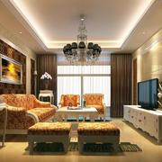 简欧式30平米大客厅电视柜装修效果图