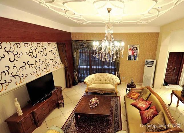 别墅美式简约风格影视墙装修效果图