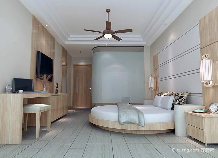 小型商务酒店原木风卧室设计装修效果图