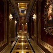 大型奢华法式风格饭店过道吊顶装饰图