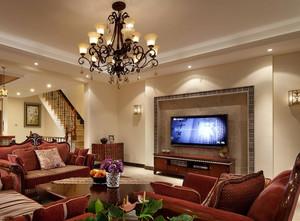 三室一厅美式简约风格影视墙装修效果图