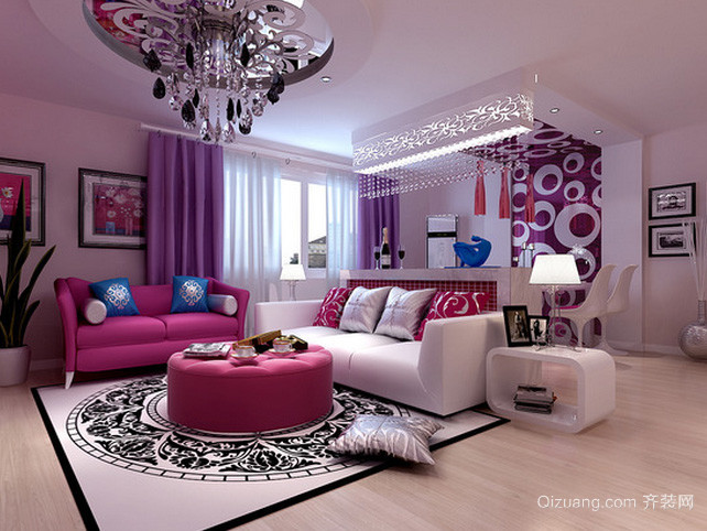 小户型紫色系新房客厅装修效果图