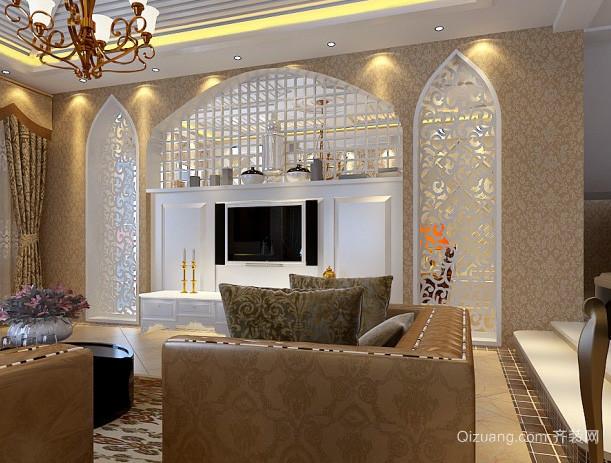别墅欧式简约风格100平米影视墙装修效果图