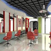 80平米后现代风格创意理发店装修效果图