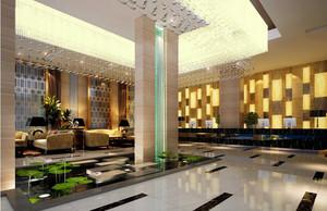 高端新中式商务酒店大堂设计装修效果图