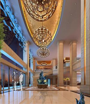 都市时尚商务酒店吊灯设计装修效果图
