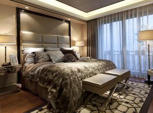 复式楼后现代风格深色系卧室装修效果图