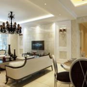 舒适现代欧式大户型客厅背景墙装修效果图鉴赏