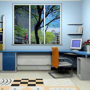 现代简约风格儿童房整体电脑桌装修效果图