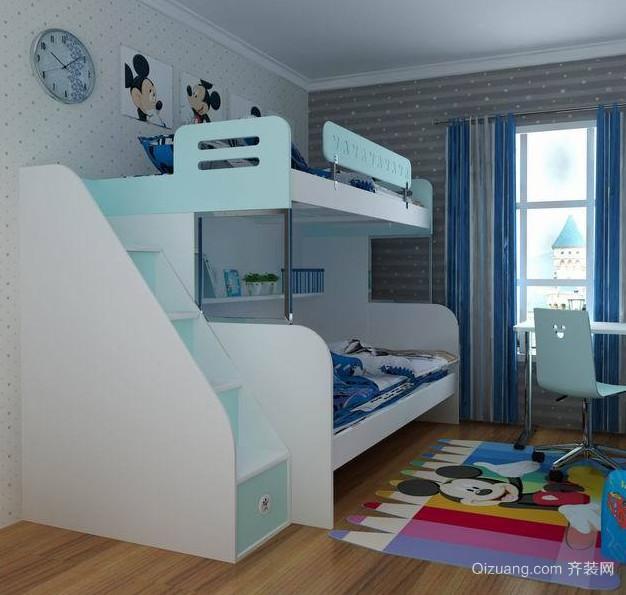 2016动感的欧式大户型儿童房高低床装修效果图