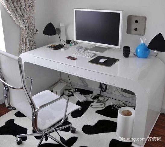 30平米后现代风格经典黑白色电脑桌装修效果图