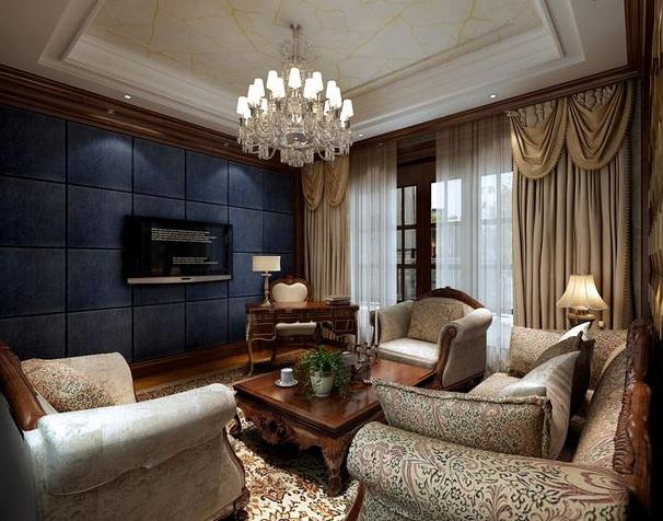 别墅欧式奢华风格影视墙装修效果图