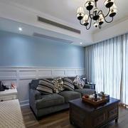 室内客厅蓝色墙面