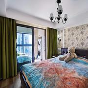 室内美式卧室玻璃推拉门