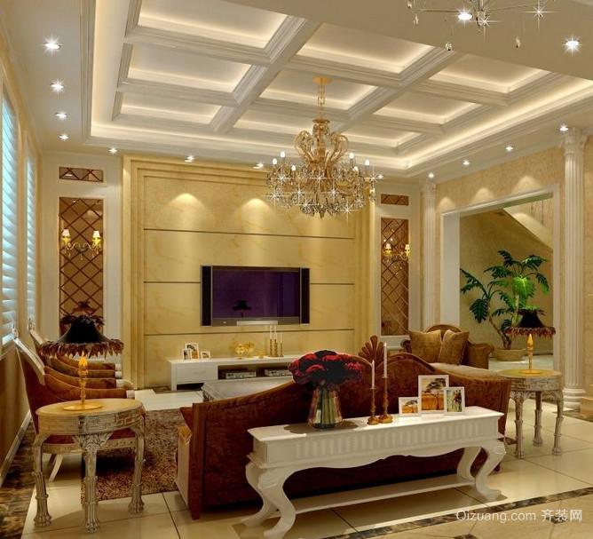 现代欧式大户型客厅电视背景墙装修效果图鉴赏
