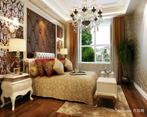 复式楼欧式简约风格卧室装修效果图