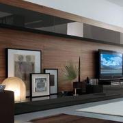 现代风格原木电视背景墙装饰