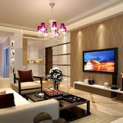 复式楼硅藻泥电视背景墙装饰