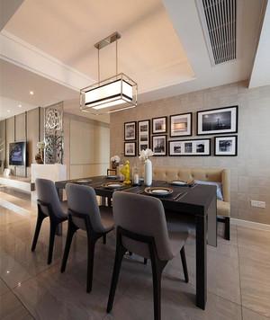 后现代140平米家庭餐厅实木餐桌椅图片