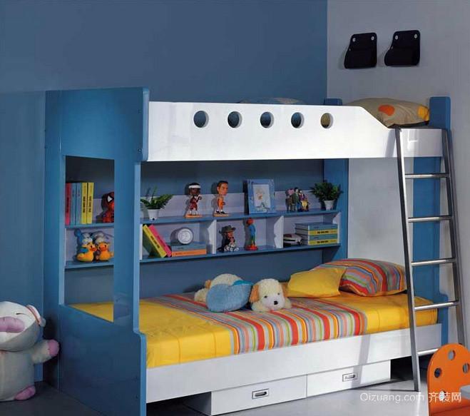 现代小男生儿童房高低床装修效果图片